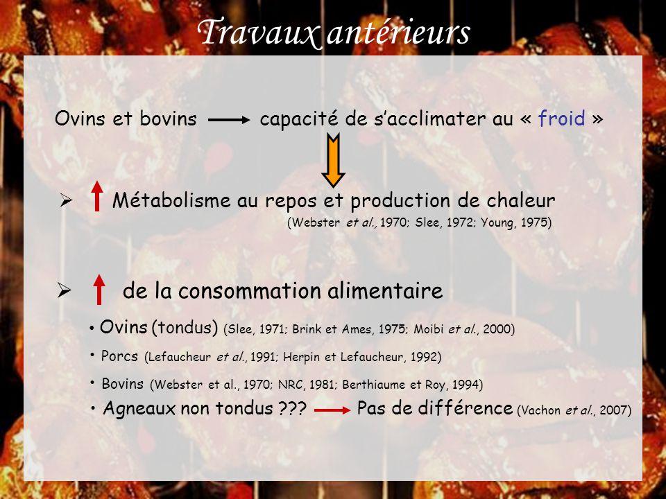 Résultats et discussion Des hypothèses…  Plus d'azote non ammoniacal au duodénum et meilleure digestion 0-5 ºC vs 20-25 ºC (Christopherson et Kennedy, 1983; Kennedy et al., 1986) • Pas d'effet avec alimentation orge-canola (Kennedy et al., 1982)  Oxydation des substrats non protéiques (O vs 20 ºC)  Changements endocriniens (Sano et al., 1995) • Hormones thyroïdiennes (Sasaki et Weekes, 1986; Ekpe et Christopherson 2000) • Réponse accrue à l'insuline (Weekes et al., 1983) EnvironnementAgeUrée (mmol/L) Tempéré 76 7,09 Froid6,05 Tempéré 97 6,27 Froid5,82 Tempéré 119 8,63 Froid 6,67 …effet possible sur le dépôt musculaire