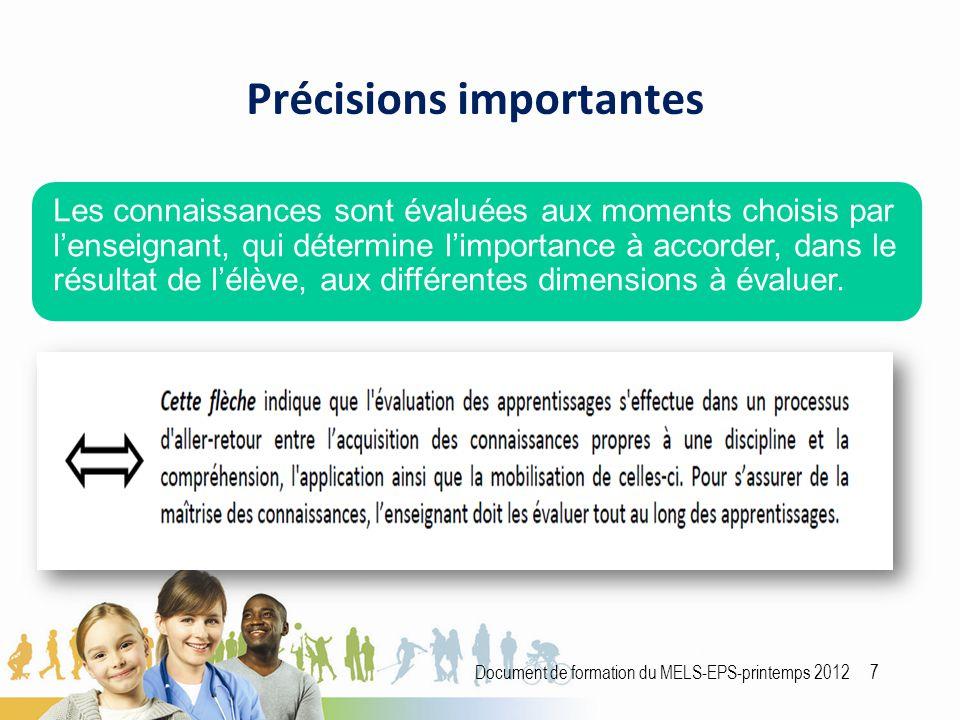 Précisions importantes Document de formation du MELS-EPS-printemps 2012 7 Les connaissances sont évaluées aux moments choisis par l'enseignant, qui détermine l'importance à accorder, dans le résultat de l'élève, aux différentes dimensions à évaluer.