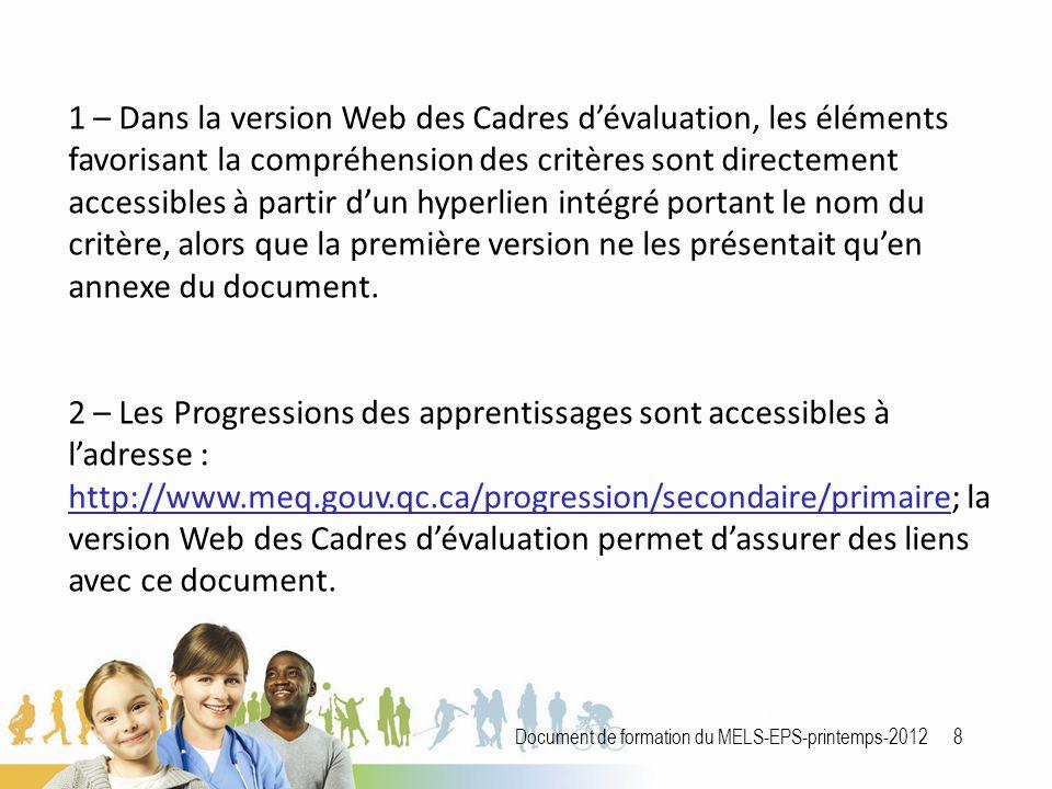 Document de formation du MELS-EPS-printemps-2012 8 1 – Dans la version Web des Cadres d'évaluation, les éléments favorisant la compréhension des critères sont directement accessibles à partir d'un hyperlien intégré portant le nom du critère, alors que la première version ne les présentait qu'en annexe du document.