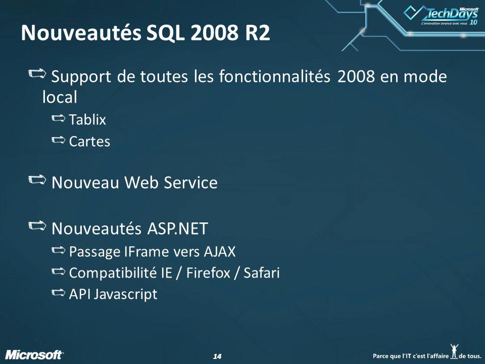 14 Nouveautés SQL 2008 R2 Support de toutes les fonctionnalités 2008 en mode local Tablix Cartes Nouveau Web Service Nouveautés ASP.NET Passage IFrame