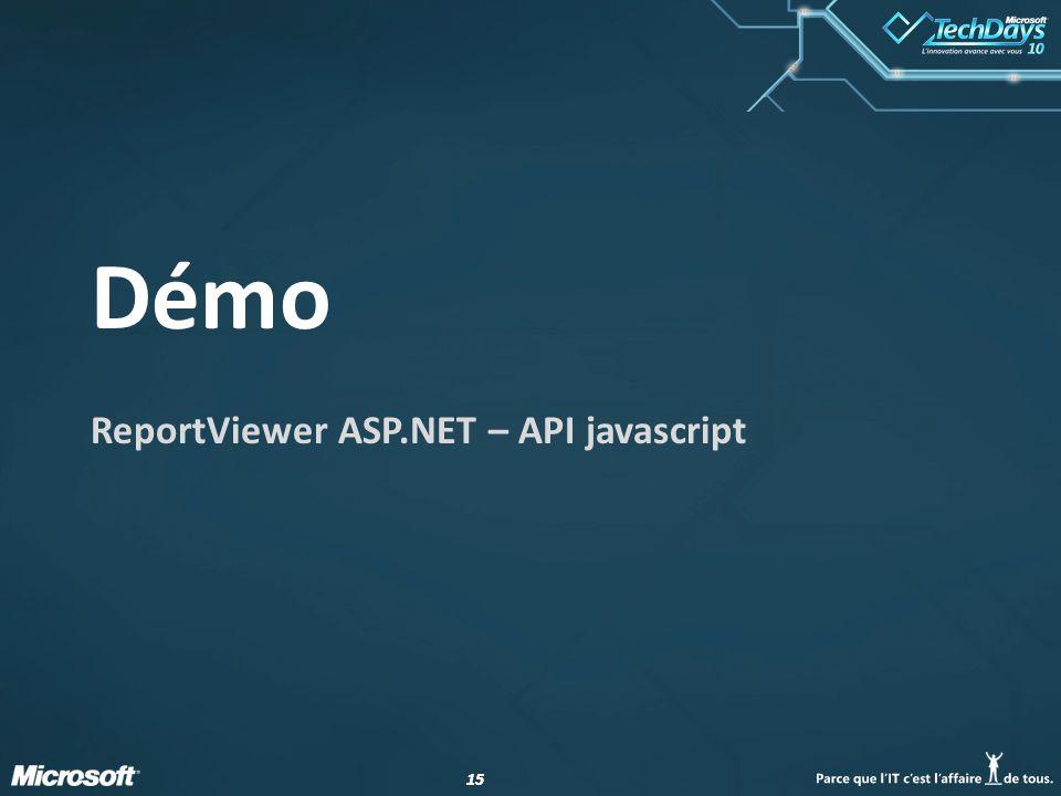 15 Démo ReportViewer ASP.NET – API javascript
