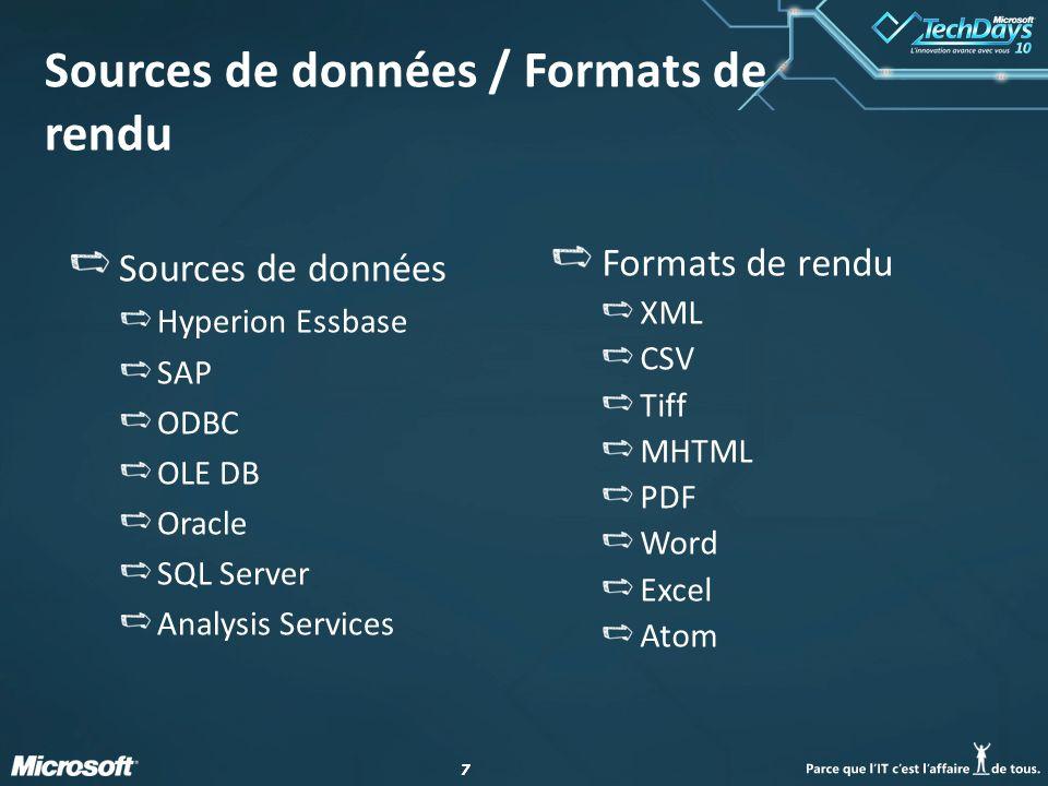 77 Sources de données / Formats de rendu Formats de rendu XML CSV Tiff MHTML PDF Word Excel Atom Sources de données Hyperion Essbase SAP ODBC OLE DB O