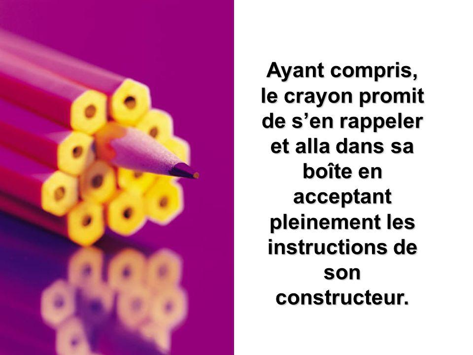Ayant compris, le crayon promit de s'en rappeler et alla dans sa boîte en acceptant pleinement les instructions de son constructeur.