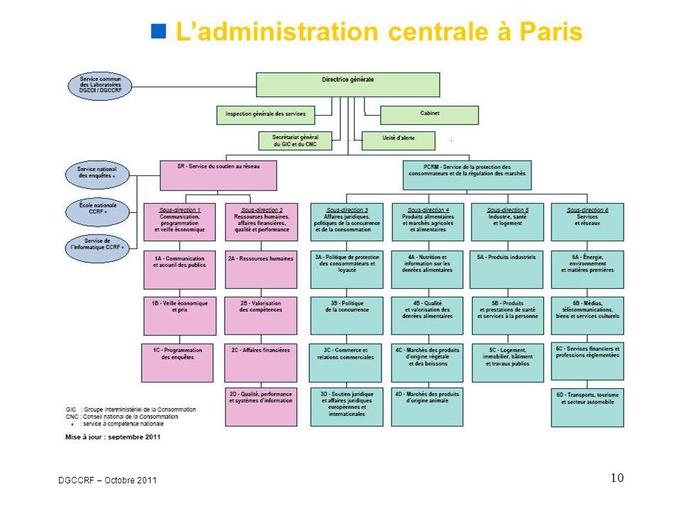 DGCCRF – Octobre 2011 10  L'administration centrale à Paris