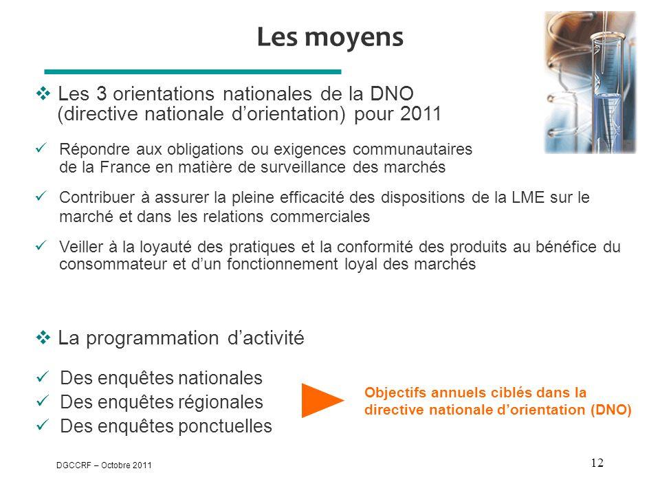 DGCCRF – Octobre 2011 12 Les moyens  Les 3 orientations nationales de la DNO (directive nationale d'orientation) pour 2011  La programmation d'activ
