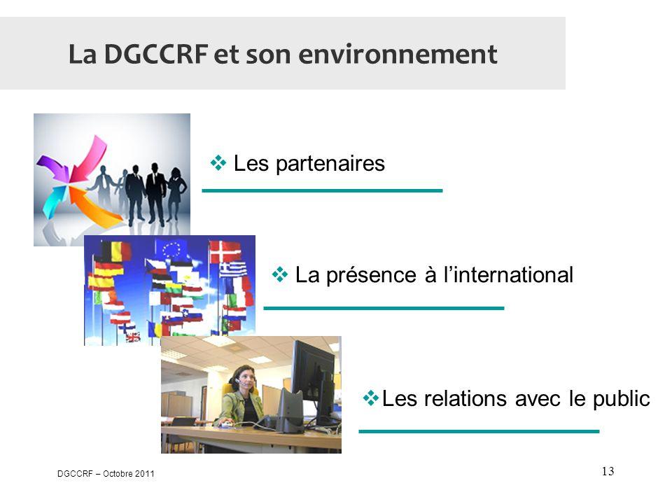 DGCCRF – Octobre 2011 13 La DGCCRF et son environnement  Les partenaires  La présence à l'international  Les relations avec le public