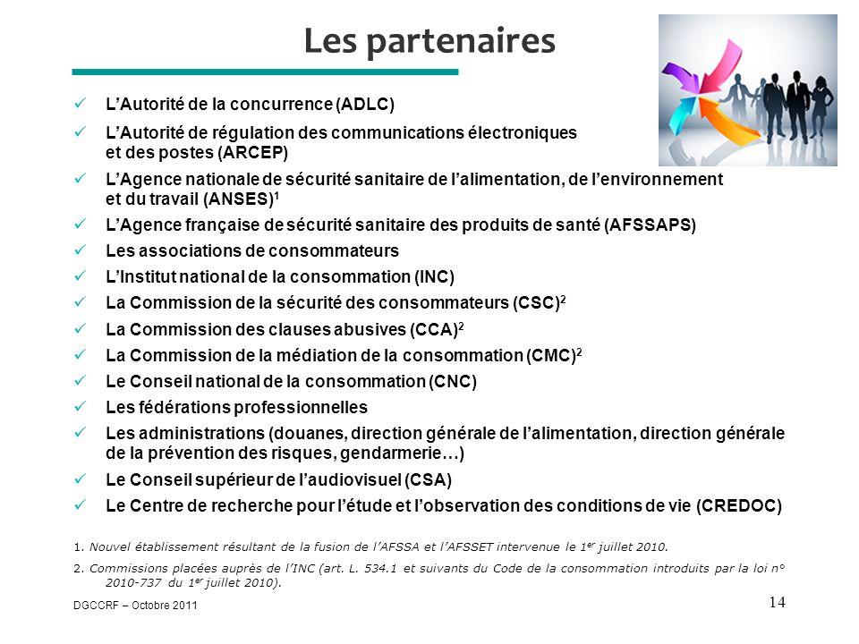 DGCCRF – Octobre 2011 14 Les partenaires  L'Autorité de la concurrence (ADLC)  L'Autorité de régulation des communications électroniques et des postes (ARCEP)  L'Agence nationale de sécurité sanitaire de l'alimentation, de l'environnement et du travail (ANSES) 1  L'Agence française de sécurité sanitaire des produits de santé (AFSSAPS)  Les associations de consommateurs  L'Institut national de la consommation (INC)  La Commission de la sécurité des consommateurs (CSC) 2  La Commission des clauses abusives (CCA) 2  La Commission de la médiation de la consommation (CMC) 2  Le Conseil national de la consommation (CNC)  Les fédérations professionnelles  Les administrations (douanes, direction générale de l'alimentation, direction générale de la prévention des risques, gendarmerie…)  Le Conseil supérieur de l'audiovisuel (CSA)  Le Centre de recherche pour l'étude et l'observation des conditions de vie (CREDOC) 1.
