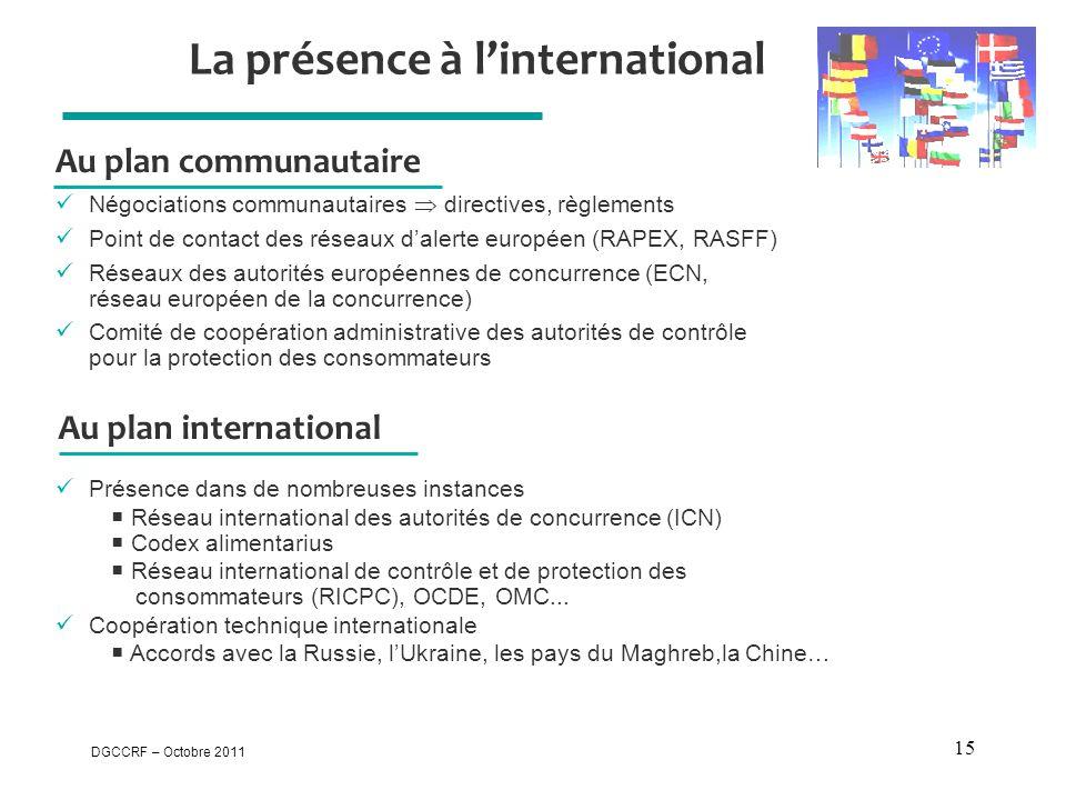 DGCCRF – Octobre 2011 15 La présence à l'international Au plan communautaire  Négociations communautaires  directives, règlements  Point de contact