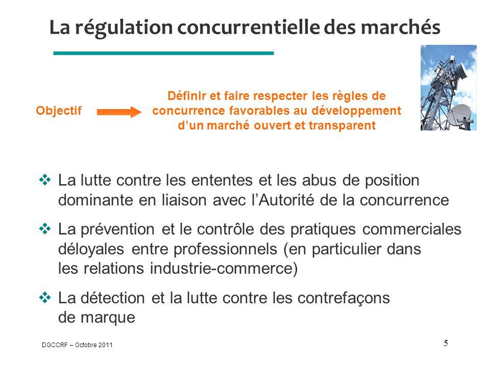 DGCCRF – Octobre 2011 5 La régulation concurrentielle des marchés  La lutte contre les ententes et les abus de position dominante en liaison avec l'A