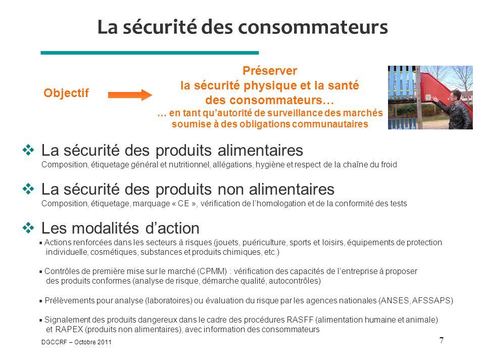 DGCCRF – Octobre 2011 7 La sécurité des consommateurs  La sécurité des produits alimentaires Composition, étiquetage général et nutritionnel, allégat