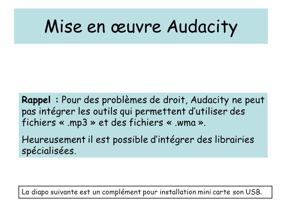 Mise en œuvre Audacity Rappel : Pour des problèmes de droit, Audacity ne peut pas intégrer les outils qui permettent d'utiliser des fichiers «.mp3 » e