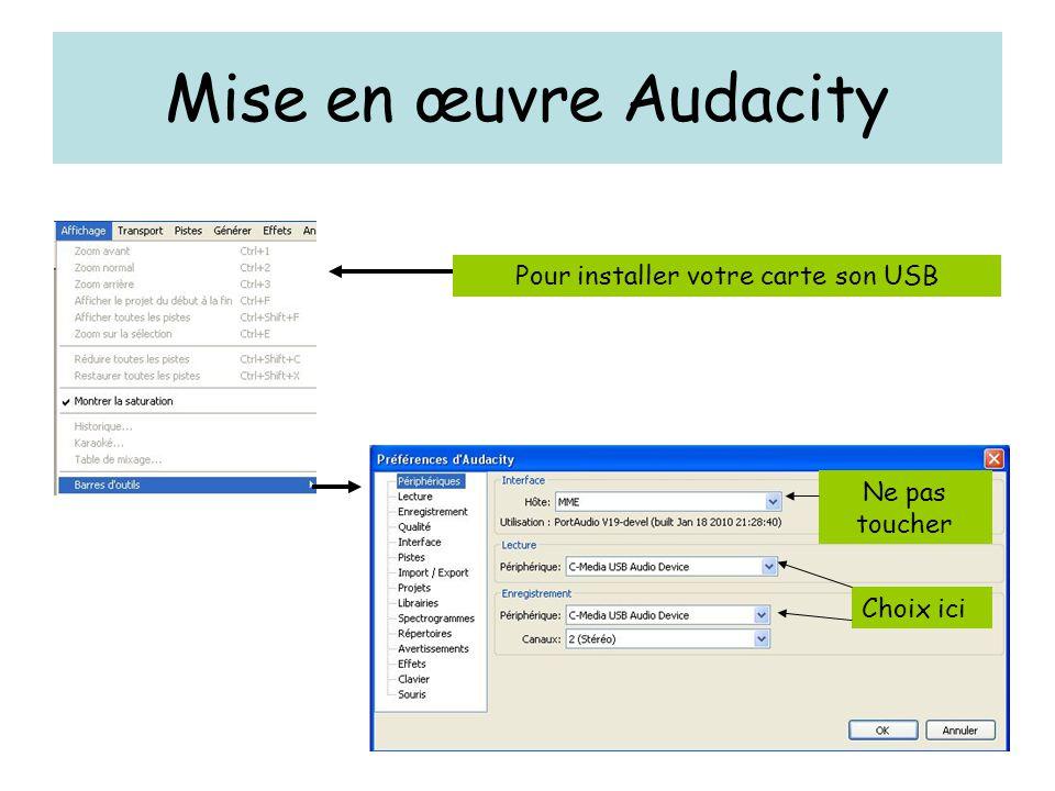 Mise en œuvre Audacity Pour installer votre carte son USB Choix ici Ne pas toucher