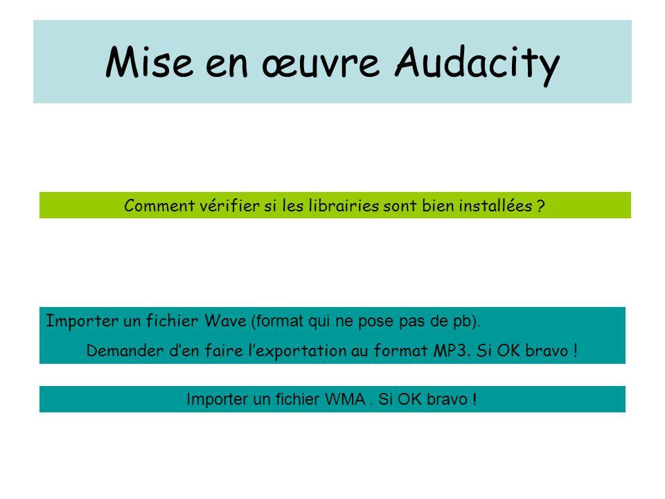 Mise en œuvre Audacity Comment vérifier si les librairies sont bien installées ? Importer un fichier Wave (format qui ne pose pas de pb). Demander d'e