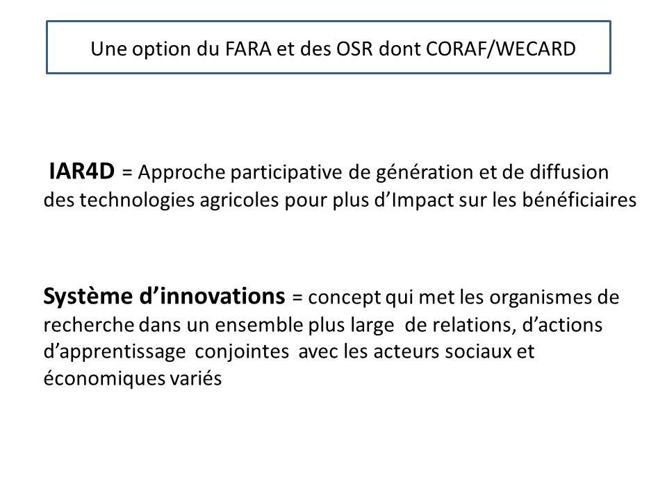 Une Une option du FARA et des OSR dont CORAF/WECARD IAR4D = Approche participative de génération et de diffusion des technologies agricoles pour plus