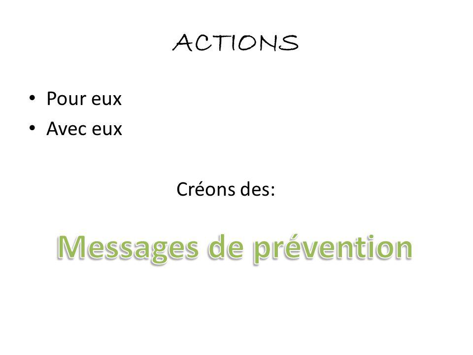 ACTIONS • Pour eux • Avec eux Créons des: