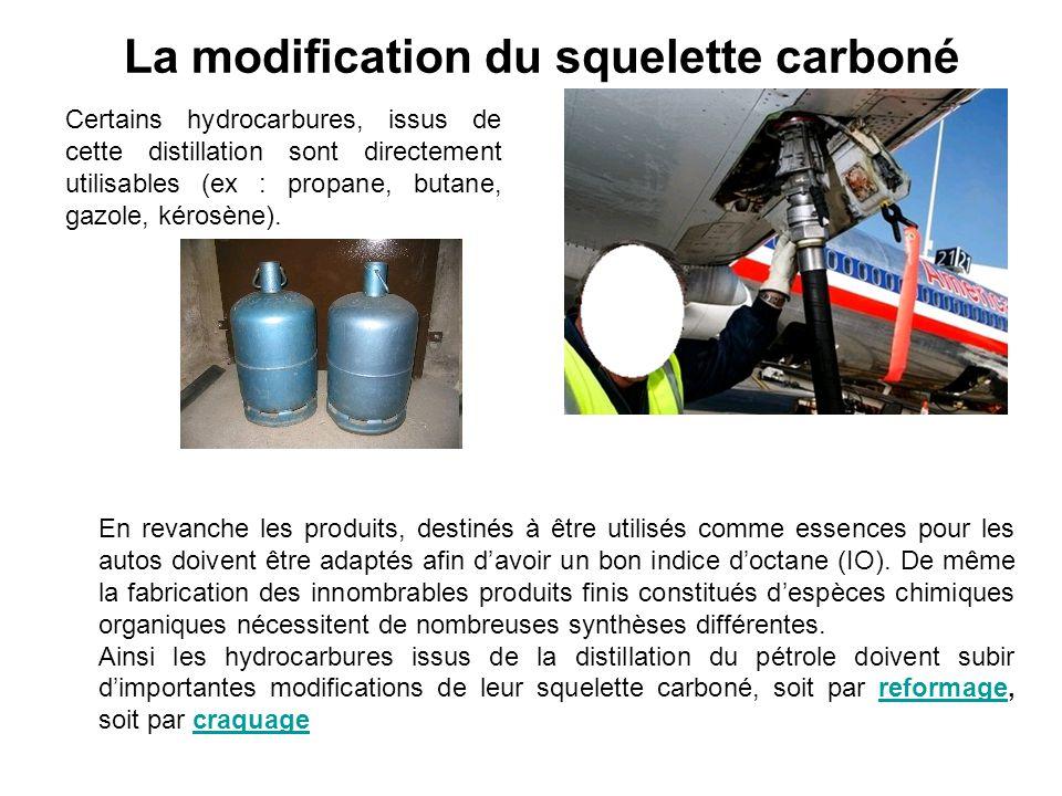 La modification du squelette carboné Certains hydrocarbures, issus de cette distillation sont directement utilisables (ex : propane, butane, gazole, k