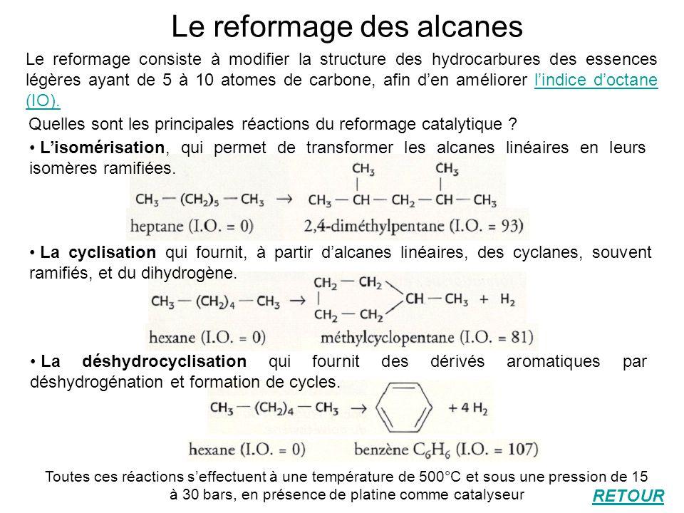 Le reformage des alcanes Le reformage consiste à modifier la structure des hydrocarbures des essences légères ayant de 5 à 10 atomes de carbone, afin