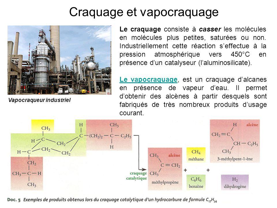 Craquage et vapocraquage Vapocraqueur industriel Le craquage consiste à casser les molécules en molécules plus petites, saturées ou non. Industriellem