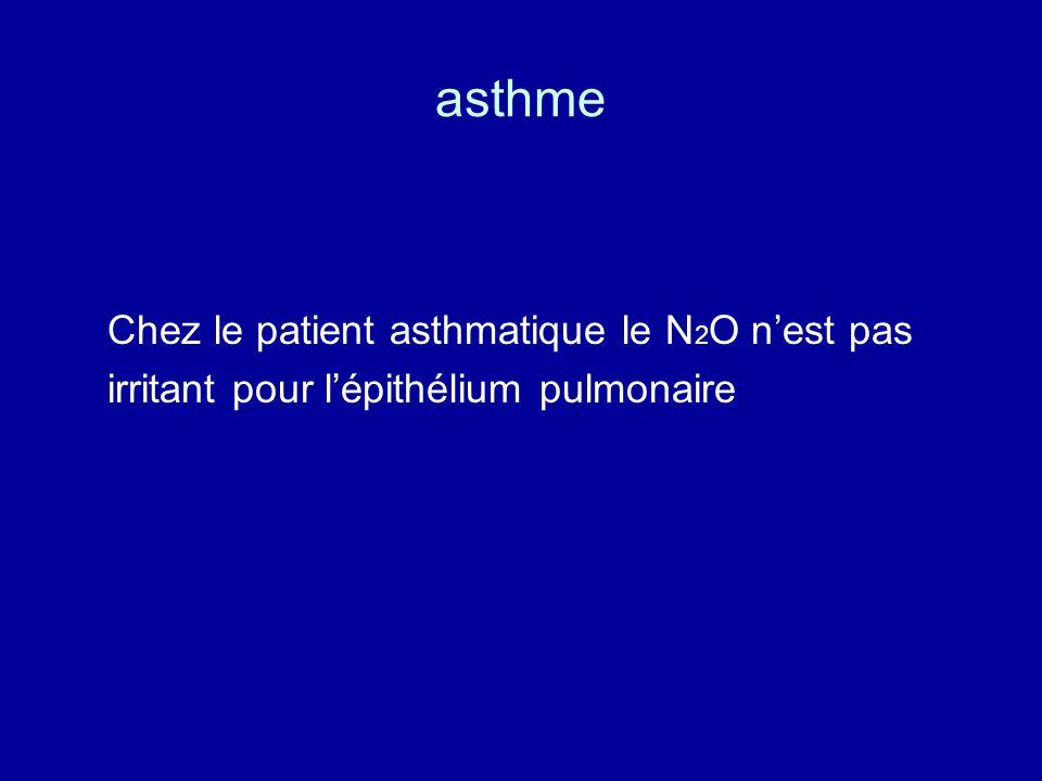 asthme Chez le patient asthmatique le N 2 O n'est pas irritant pour l'épithélium pulmonaire
