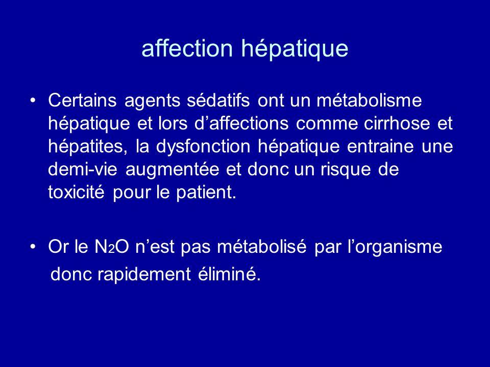 affection hépatique •Certains agents sédatifs ont un métabolisme hépatique et lors d'affections comme cirrhose et hépatites, la dysfonction hépatique