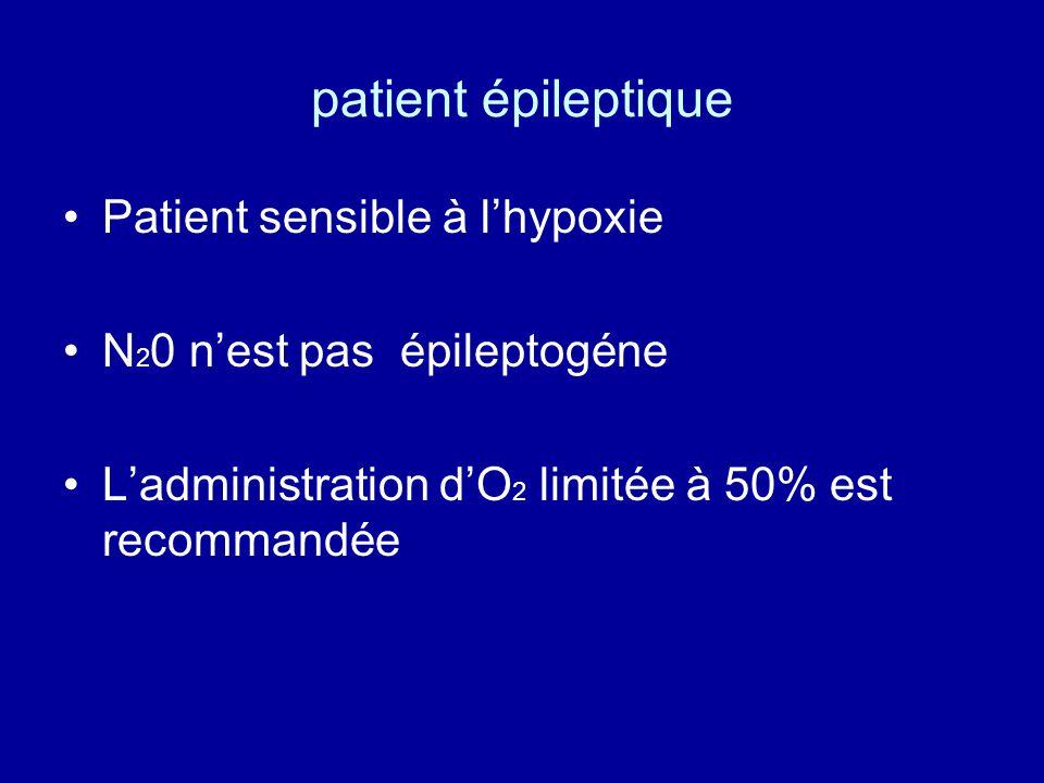 patient épileptique •Patient sensible à l'hypoxie •N 2 0 n'est pas épileptogéne •L'administration d'O 2 limitée à 50% est recommandée