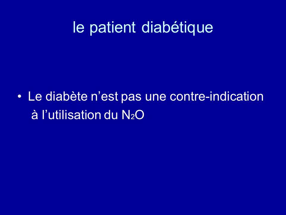 le patient diabétique •Le diabète n'est pas une contre-indication à l'utilisation du N 2 O