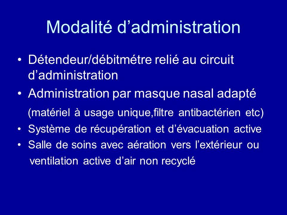 Modalité d'administration •Détendeur/débitmétre relié au circuit d'administration •Administration par masque nasal adapté (matériel à usage unique,fil