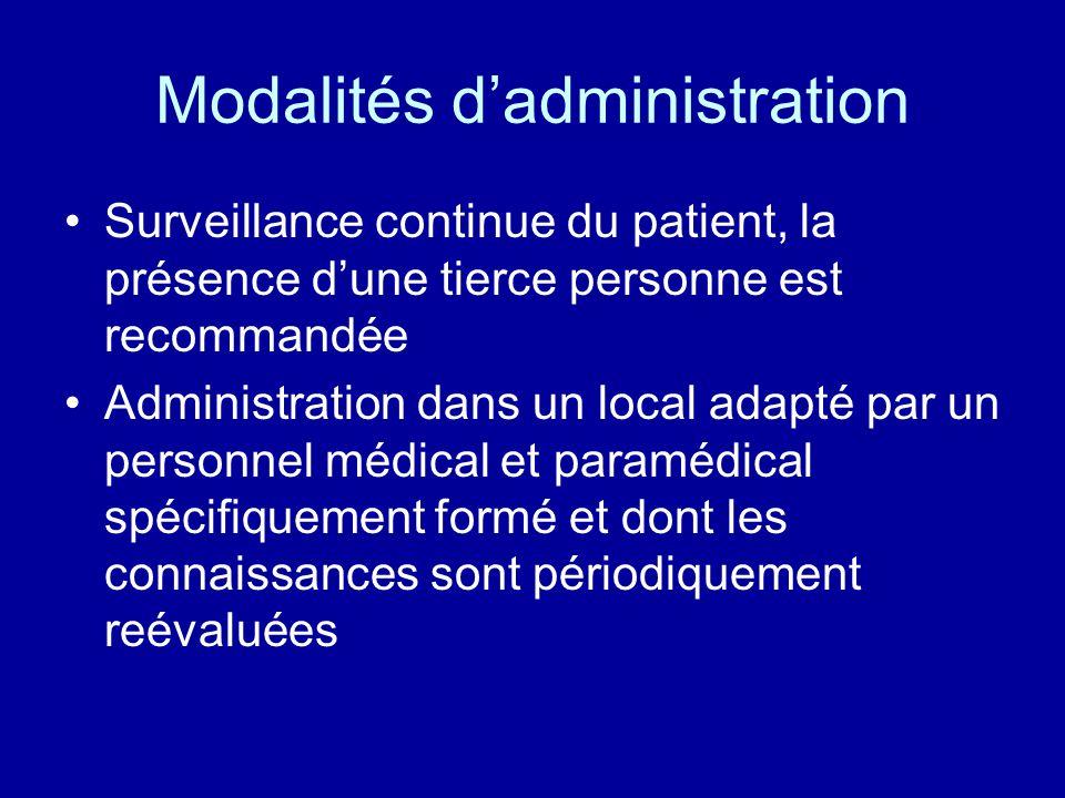 Modalités d'administration •Surveillance continue du patient, la présence d'une tierce personne est recommandée •Administration dans un local adapté p