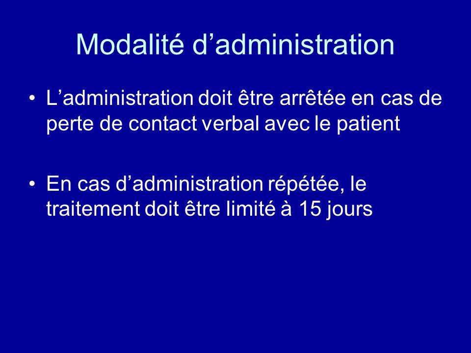 Modalité d'administration •L'administration doit être arrêtée en cas de perte de contact verbal avec le patient •En cas d'administration répétée, le t