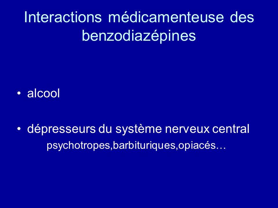 Interactions médicamenteuse des benzodiazépines •alcool •dépresseurs du système nerveux central psychotropes,barbituriques,opiacés…