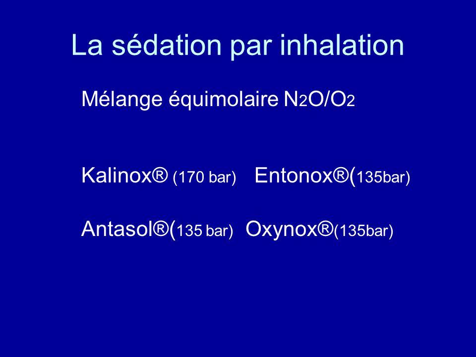 La sédation par inhalation Mélange équimolaire N 2 O/O 2 Kalinox® (170 bar) Entonox®( 135bar) Antasol®( 135 bar) Oxynox® (135bar)
