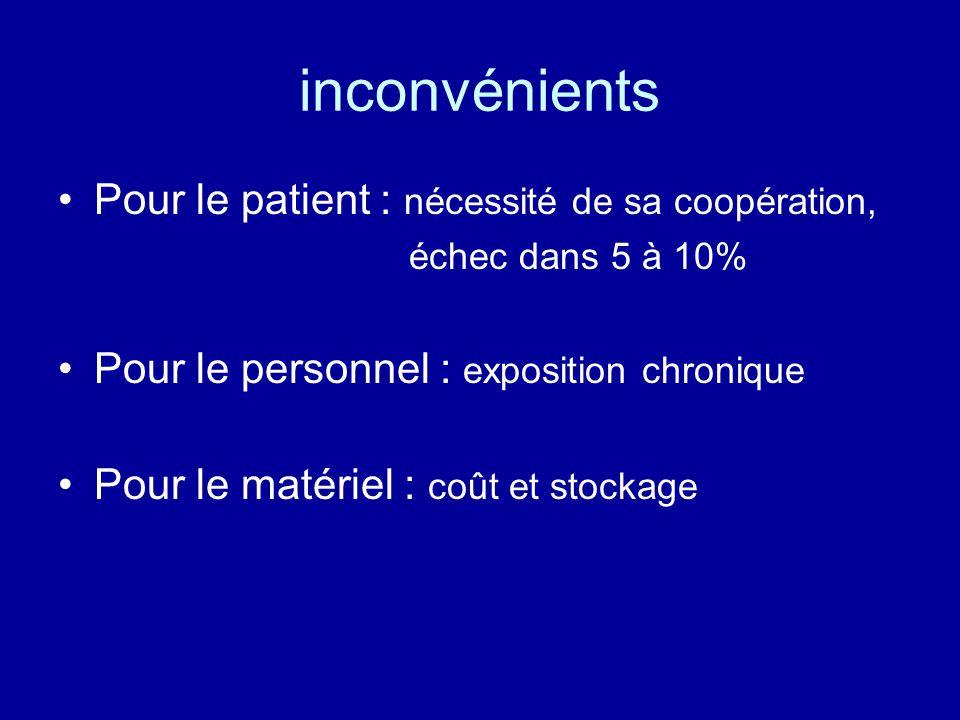 inconvénients •Pour le patient : nécessité de sa coopération, échec dans 5 à 10% •Pour le personnel : exposition chronique •Pour le matériel : coût et