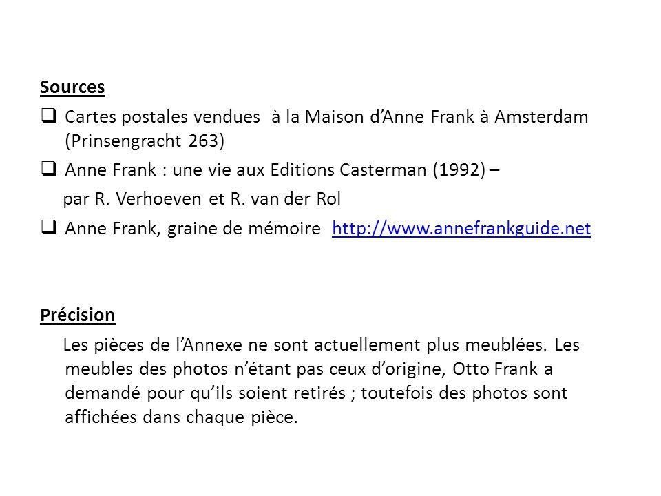 Sources  Cartes postales vendues à la Maison d'Anne Frank à Amsterdam (Prinsengracht 263)  Anne Frank : une vie aux Editions Casterman (1992) – par
