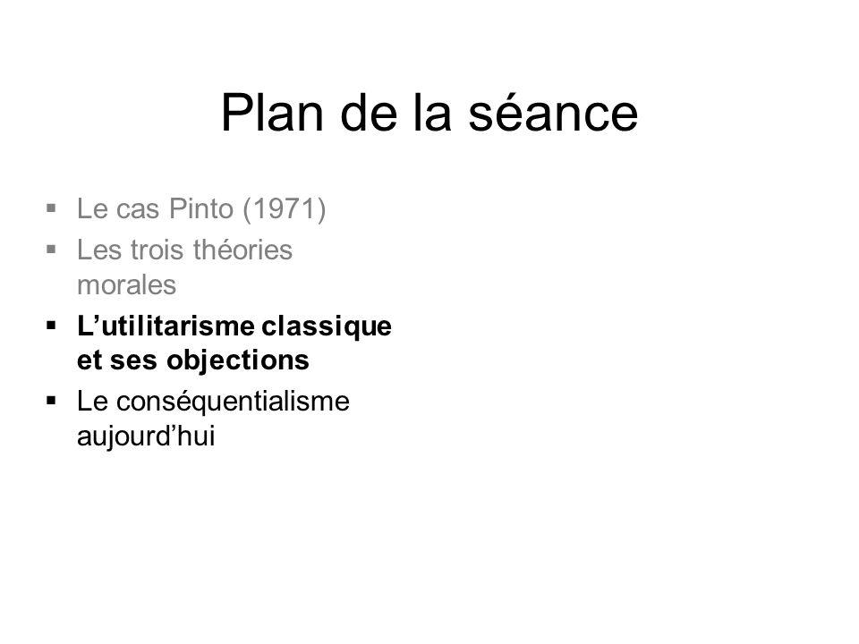 Plan de la séance  Le cas Pinto (1971)  Les trois théories morales  L'utilitarisme classique et ses objections  Le conséquentialisme aujourd'hui