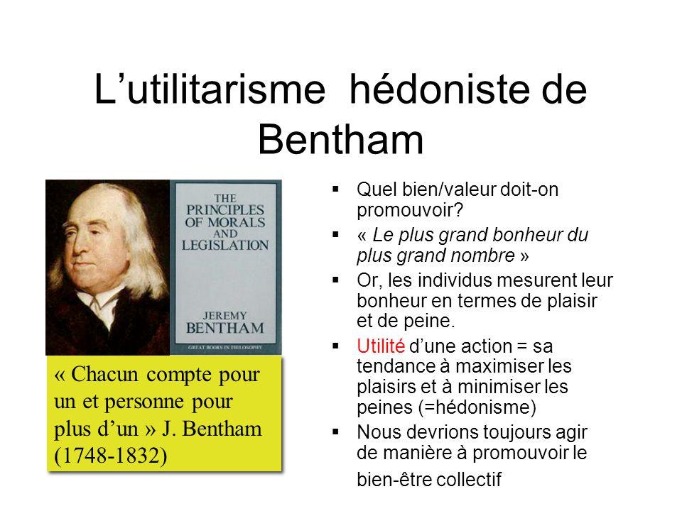 L'utilitarisme hédoniste de Bentham  Quel bien/valeur doit-on promouvoir.