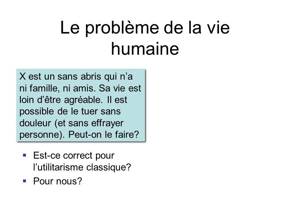 Le problème de la vie humaine  Est-ce correct pour l'utilitarisme classique.