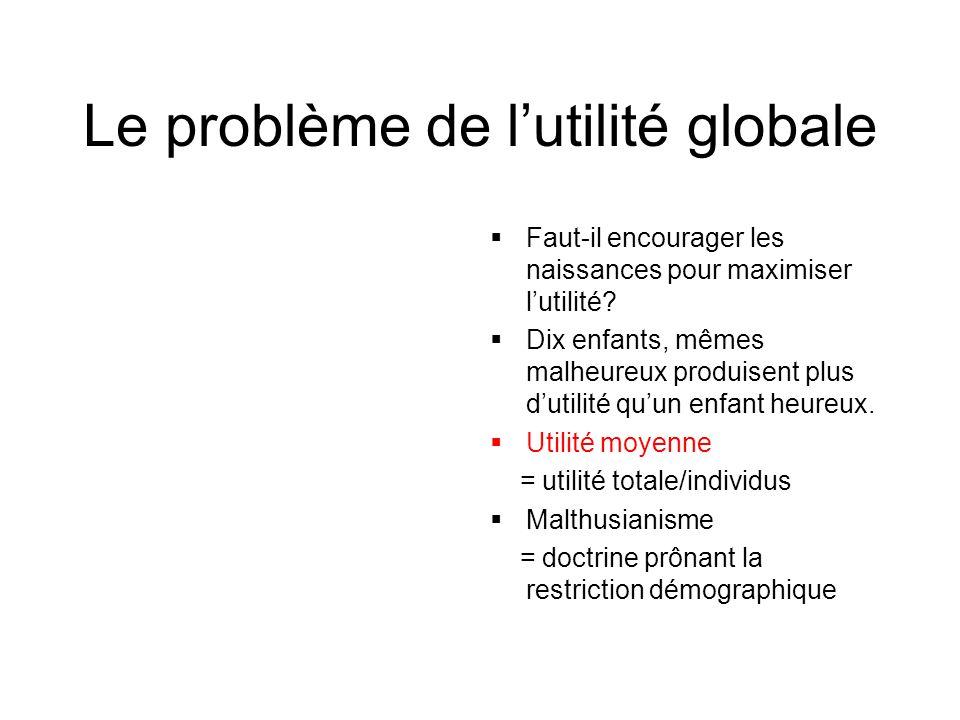 Le problème de l'utilité globale  Faut-il encourager les naissances pour maximiser l'utilité.