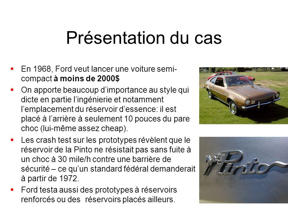 Présentation du cas  En 1968, Ford veut lancer une voiture semi- compact à moins de 2000$  On apporte beaucoup d'importance au style qui dicte en partie l'ingénierie et notamment l'emplacement du réservoir d'essence: il est placé à l'arrière à seulement 10 pouces du pare choc (lui-même assez cheap).