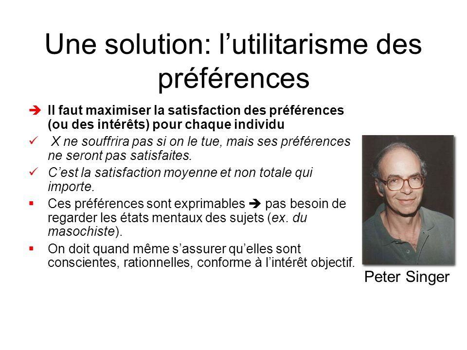 Une solution: l'utilitarisme des préférences èIl faut maximiser la satisfaction des préférences (ou des intérêts) pour chaque individu  X ne souffrira pas si on le tue, mais ses préférences ne seront pas satisfaites.