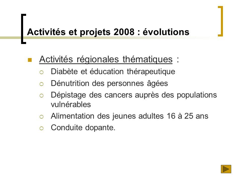  Activités régionales thématiques :  Diabète et éducation thérapeutique  Dénutrition des personnes âgées  Dépistage des cancers auprès des populat