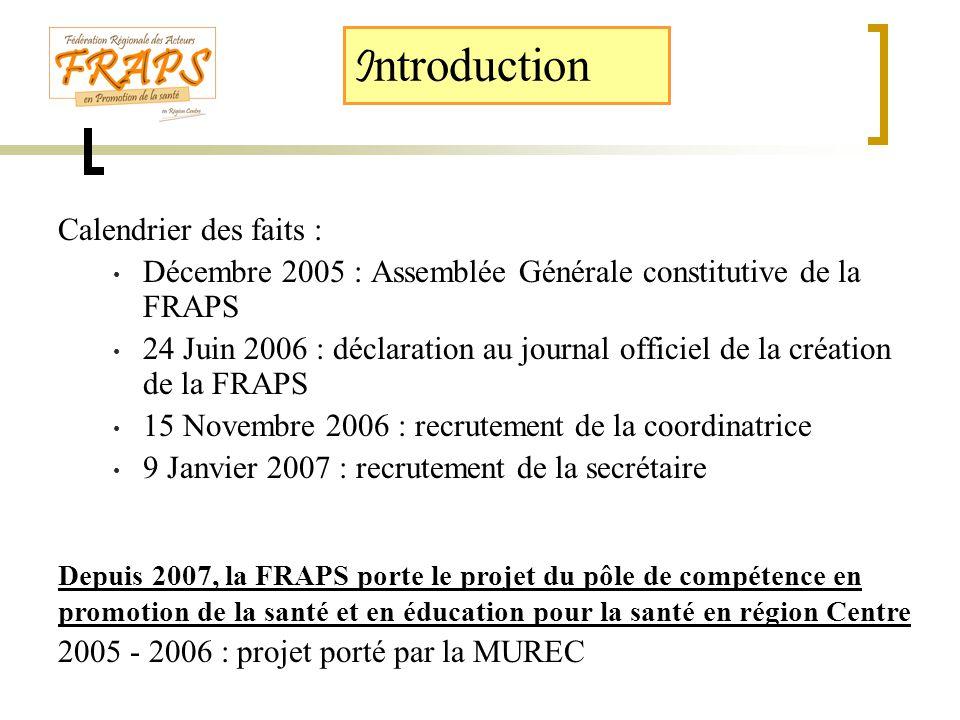 I ntroduction Calendrier des faits : • Décembre 2005 : Assemblée Générale constitutive de la FRAPS • 24 Juin 2006 : déclaration au journal officiel de