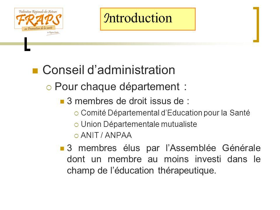  Conseil d'administration  Pour chaque département :  3 membres de droit issus de :  Comité Départemental d'Education pour la Santé  Union Départ