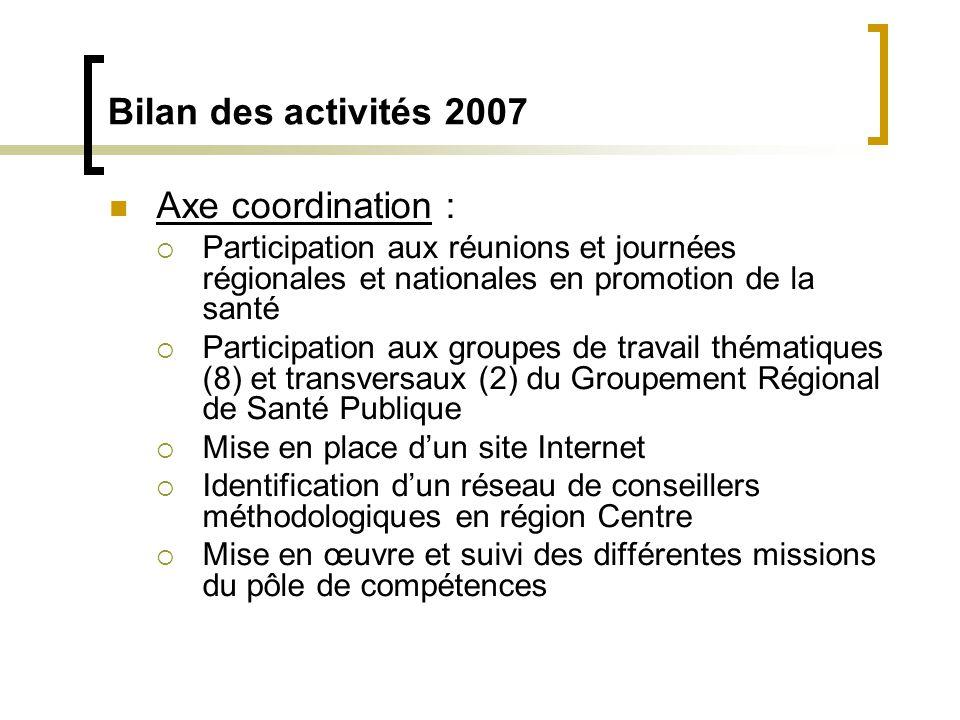  Axe coordination :  Participation aux réunions et journées régionales et nationales en promotion de la santé  Participation aux groupes de travail