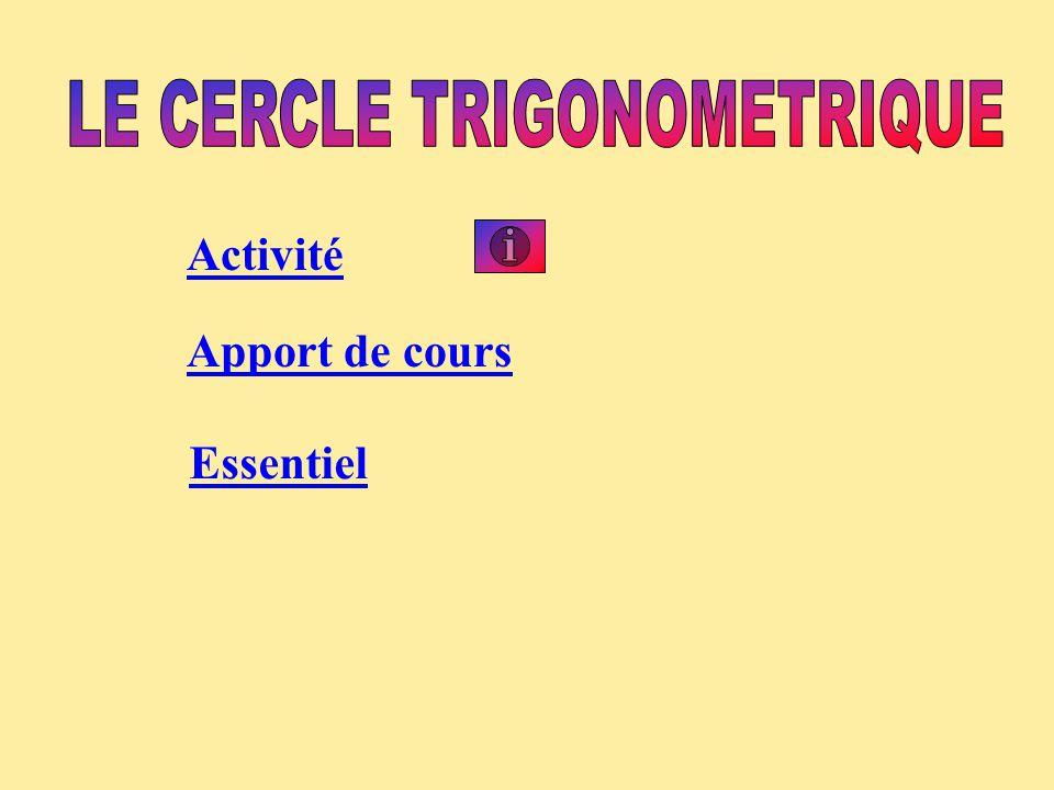 Soit un repère orthonormal Le cercle trigonométrique est le cercle de rayon 1 centré sur l'origine.