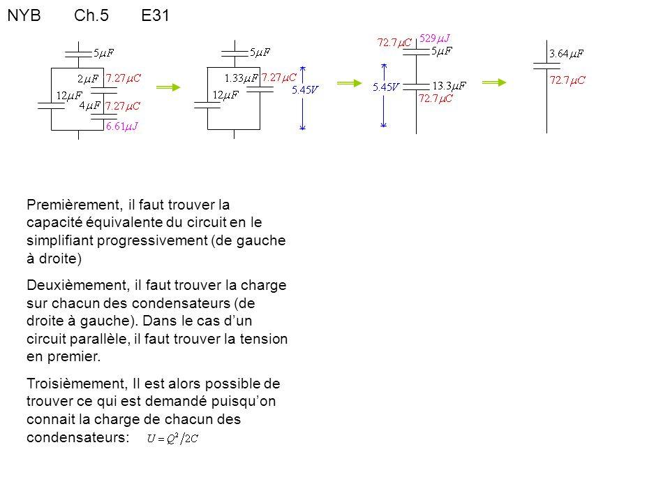 NYBCh.5E31 Premièrement, il faut trouver la capacité équivalente du circuit en le simplifiant progressivement (de gauche à droite) Deuxièmement, il fa