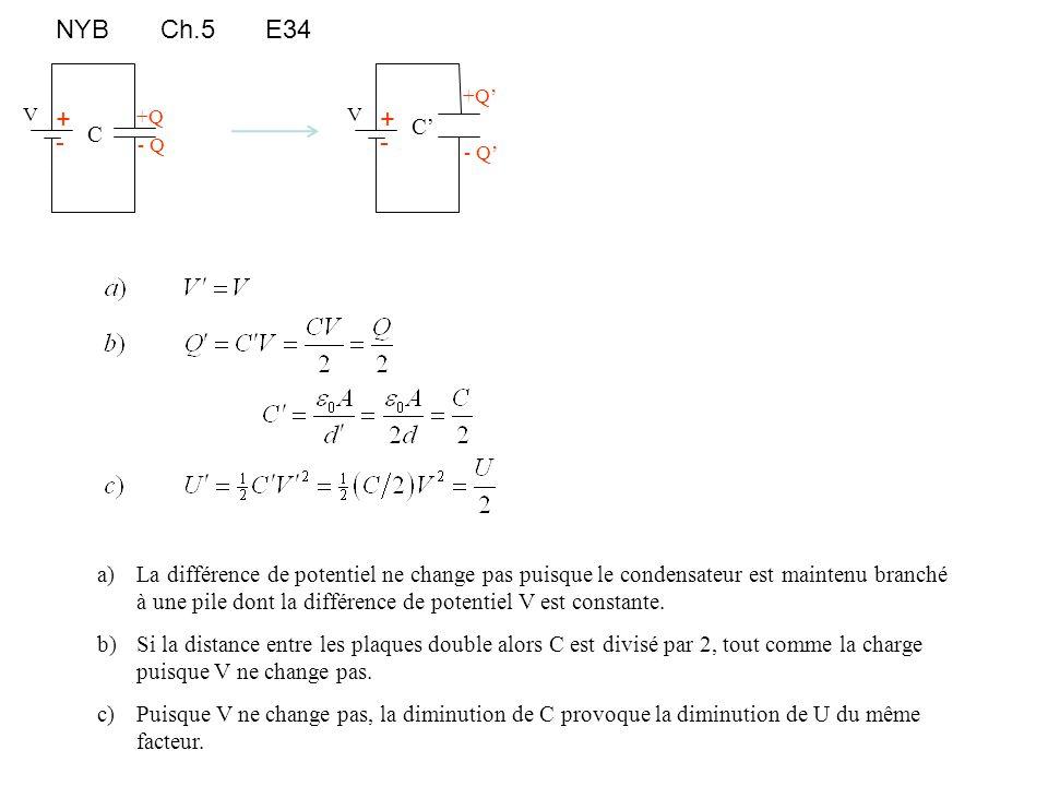NYBCh.5E34 +Q - Q C + - V a)La différence de potentiel ne change pas puisque le condensateur est maintenu branché à une pile dont la différence de pot