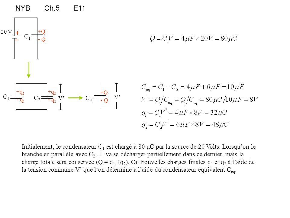 NYBCh.5E11 +Q - Q C1C1 + - 20 V +q 2 - q 2 C2C2 +q 1 - q 1 C1C1 C eq +Q - Q V' Initialement, le condensateur C 1 est chargé à 80 μC par la source de 2