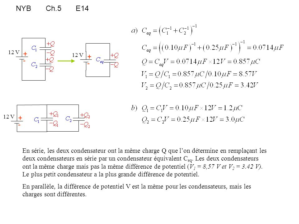 NYBCh.5E14 En série, les deux condensateur ont la même charge Q que l'on détermine en remplaçant les deux condensateurs en série par un condensateur é