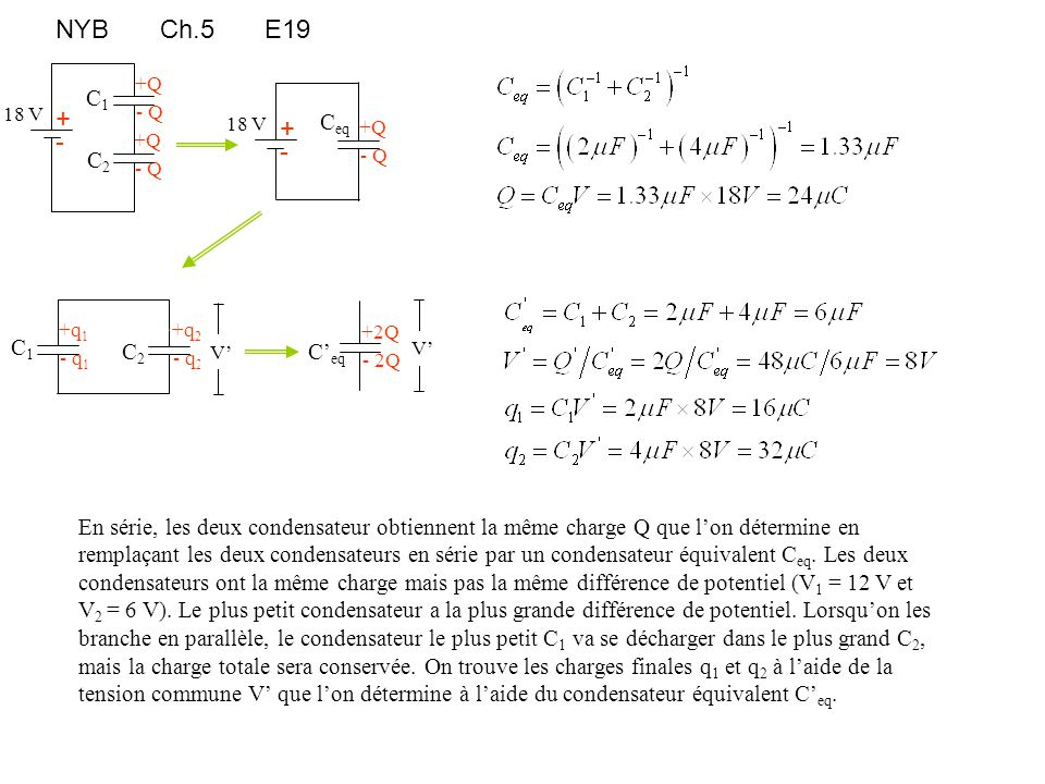 NYBCh.5E19 +Q - Q C2C2 +Q - Q C1C1 + - 18 V + - 18 V +Q - Q C eq +q 2 - q 2 C2C2 +q 1 - q 1 C1C1 C' eq +2Q - 2Q V' En série, les deux condensateur obt