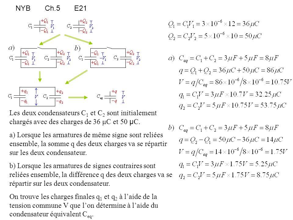 NYBCh.5E21 Les deux condensateurs C 1 et C 2 sont initialement chargés avec des charges de 36 μC et 50 μ C. a) Lorsque les armatures de même signe son